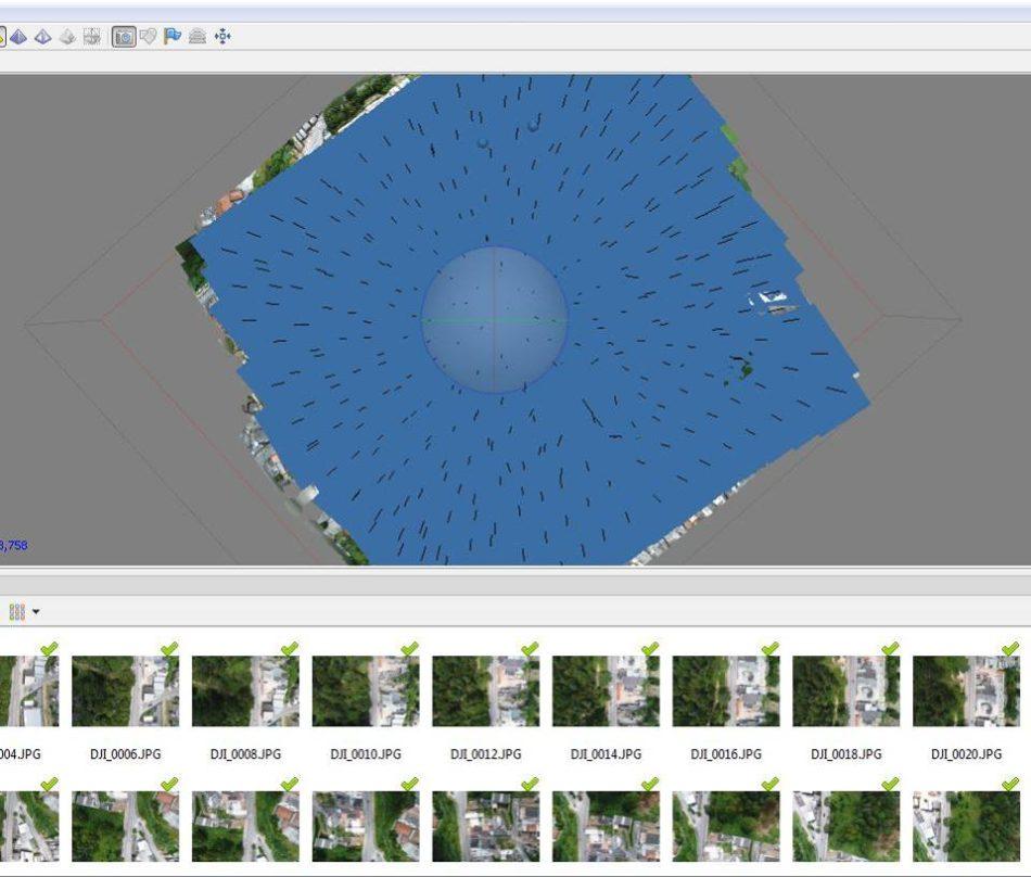 Distribuição das imagens mostradas no Agisoft Photoscan software de processamento de imagens 950x808 Artigo técnico: Case de sucesso sobre Drones na Engenharia